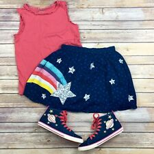 Mini Boden Outfit Pink Tank Top Sequin Star Rainbow Blue Skirt Size 11 12
