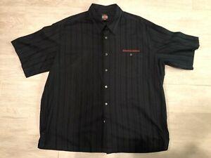 Harley-Davidson Men's 3XL Button Down Collar Black Pinstripe Dress Shirt