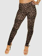 50s Style Brown Leopard Print Cotton Stretch Leggings