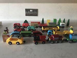 Wooden Train Railway Bundle Trains, Carraiges, Figures. Not Brio