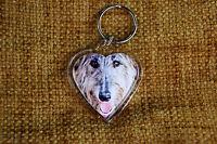 Deerhound Gift Keyring Dog Key Ring heart shaped gift Valentine