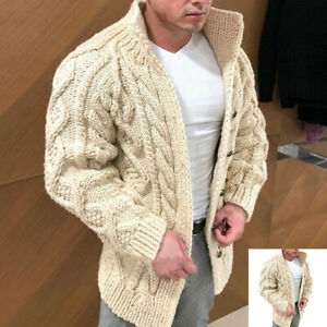 Men's Winter Buttons Warm Jacket Long Sleeve Cardigan Coat Sweater Knitted Tops