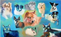 "Original 11""x14"" framed professional oil painting of YOUR PET, from your photos"
