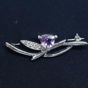 World Class 1.40ctw Amethyst & Diamond Cut White Sapphire 925 Silver Brooch 5.8g