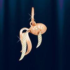 Russische Rose Rotgold 585 kleiner Anhänger Fisch BICOLOR. Fish pendant.