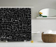 Einstein Physics Formula Science Geek Black White Fabric Shower Curtain Gift