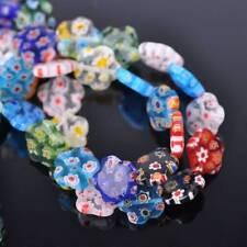 10pcs 12mm Flower Millefiori Lampwork Glass Loose Spacer Beads Random Mixed