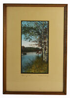 """9"""" Colored Print Signed Wallace Nutting Blue River Trees New England Landscape"""