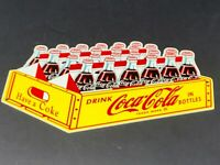 "VINTAGE DRINK COCA COLA IN BOTTLES 24 PACK DIE-CUT CASE 12"" METAL SODA POP SIGN!"