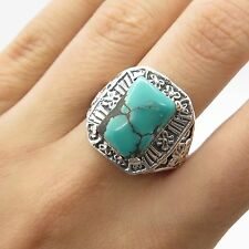 925 Sterling Silver Real Turquoise Gemstone Ring Size 7 3/4
