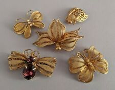 5 Vintage Napier Filigree Pins: Butterfly Flower Bug Insect Bee Pearl Rhinestone