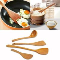 4Pcs/Set Wooden Spatula Soup Spoon Cooking Utensil Tool Tableware Kitchen Q2G8