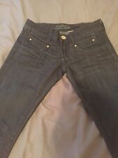 Bebe Jeans Size 27 Dark Wash Skinny Cut Low Rise Square Pockets Wiskered Dressy