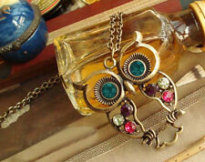 New Retro Fashion Vintage Rhinestone Crystal Big OWL Pendant Long Chain Necklace
