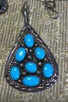 #525 Turquoise, Vintage 1970s Native American, Signed NF 925,  Pendant, Silver