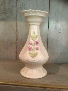 "Irish Belleek ""CHERRY BLOSSOM"" Vase - Ex Condition 6.8"" Tall"