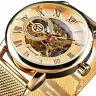 Herren Skeleton Mechanische Armbanduhr Edelstahl Luxus Steampunk Armbanduhr