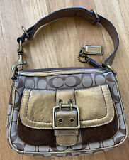 Coach Signature Canvas Brown Metallic Leather & Suede Small Hobo Shoulder Bag