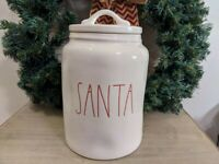 """Rae Dunn """"SANTA"""" RED Letters Christmas Large Canister with dimples Farmhouse"""
