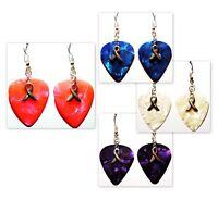 Cancer Aware Ribbon Charm Guitar Pick Earrings - Choose Color - Handmade in USA