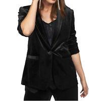 Laura Scott 1-Knopf-Jacke eleganter Damen Samt-Blazer Schwarz