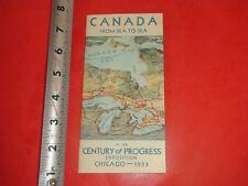 BA888 Vintage Canada Brochure 1933 Chicago World's Fair Century of Progress
