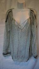 LAROK Women's Black Blue L Deep V Neck Boho Tunic Top Blouse Shirt Large Phesant