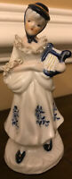Porcelain Ceramic Figurine Girl With Accordion Blue White Collectible