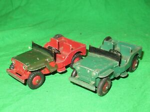 2 Dinky Toys 25Y 405 Willys Jeep incomplete for renovation