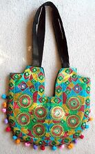 Ethnic Embroidery multiColor Shoulder Bag Black red Green Boho Tribal Gypsy