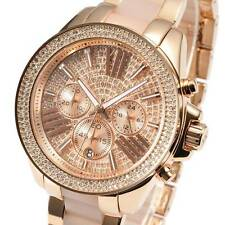 New MICHEAL KORS Ladies Watch Wren RoseGold Crystal Pave Dial Chronograph MK6096