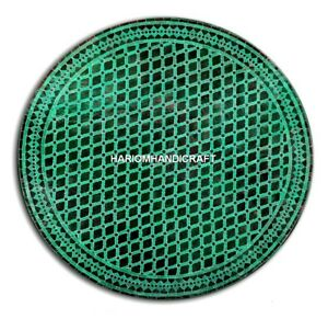 24'' Marble Malachite Inlay Round Mosaic Stone Table Top Marvelous Decor H4848A