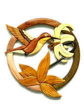 Hummingbird Flower Intarsia Wood Wall Art Home Decor Plaque Lodge New