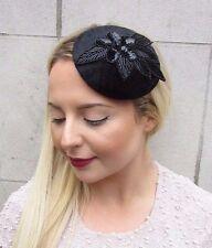 Black Velvet Sequin Bandeau Chapeau races Bandeau Pince à cheveux Vintage funérailles 2680