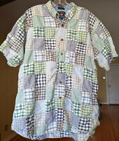 Ralph Lauren Chaps Polo Patchwork Madras Plaid Shirt Button Down Short Sleeve XL