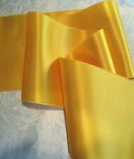 """4"""" WIDE SWISS DOUBLE FACE SATIN RIBBON- LEMON YELLOW-  BY THE YARD"""