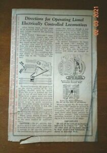 LIONEL Directions for Operating Lionel Electrically Controlled Locomotives Sheet