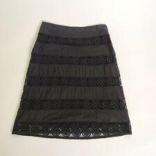 Monsoon black lined knee length a line casual elegant crochet skirt size 12