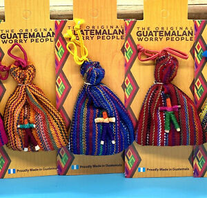 Worry Dolls in a Bag 6 Dolls in the bag Handmade Fair Trade Various Colours
