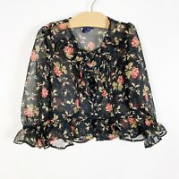 Ralph Lauren Girls Toddler Black Floral Long Sleeve Sheet  Top Sz 2T