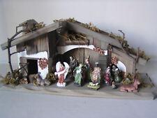 Weihnachtskrippe incl. 11 Figuren, Krippenfiguren, Holzhaus, Weihnachten