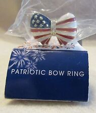 USA Patriotic Bow ring by AVON ~ Goldtone ~ size 8-9 NEW