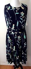 CHARTER CLUB WOMAN Plus Size 0X Sleeveless Stretch Knit Dress Blue Floral NEW