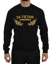 Dsquared2 Sweater Black Cotton Crewneck Gold Logo Pullover Top s. XL RRP $520