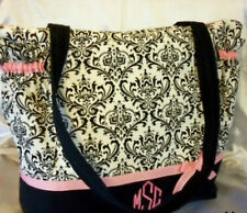 XXlg Black Damask toile Couture duffle diaper bag tote craft bag baby shower