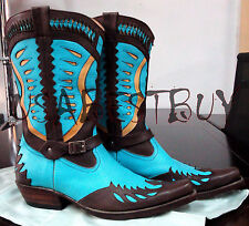 New Handmade Mens Sky Blue Cowboy Antique Style Western Boots, Rare Cowboy Boots