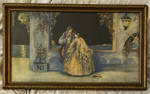Tryst At Carnival Time Circa 1920s Marygold Art Deco Romantic Print 20X12 Framed