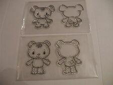 2 x Kanban Patchwork Pals  Elephant & Bear Front & Back clear resin stamp sets