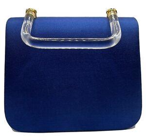 Vintage MidCentury Hand Bag Purse Royal Blue Faux Velvet Clear Lucite Handle