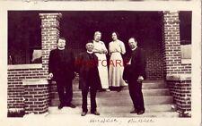 """""""Hoven, S. Dakota RPPC - marked Mrs. Buechler Rev. Buechler three men, two women"""